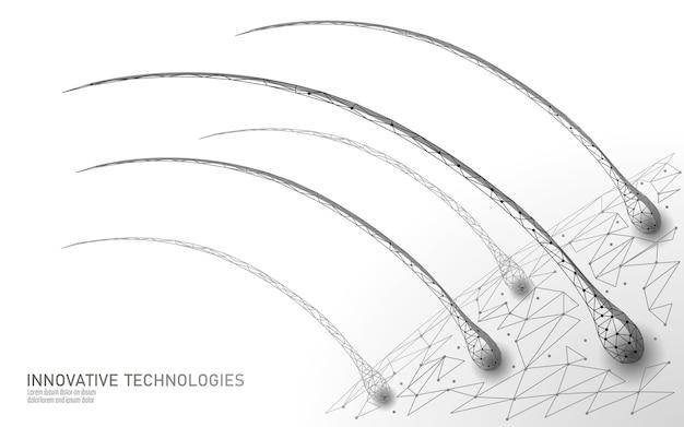 Cuidado del cabello tecnología cosmética concepto 3d. folículos pilosos