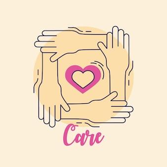 Cuidado corazón en marco de manos