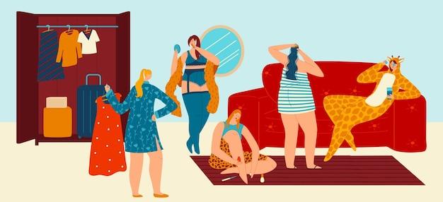 Cuidado del cuerpo en casa amigas grupo diseño vector ilustración plana mujer personaje hacer procedimiento de belleza saludable en fiesta de pijamas