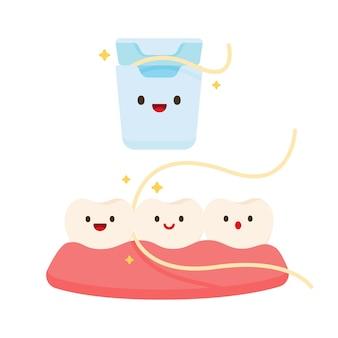Cuidado dental con hilo dental