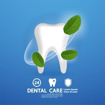 Cuidado dental con hoja de menta