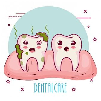 Cuidado dental personajes kawaii
