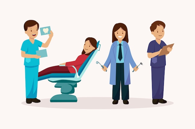 Cuidado dental plano ilustrado