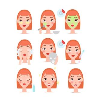 Cuidado diario de la piel. colección de dibujos animados con rostro de mujer haciendo procedimientos de belleza, limpieza