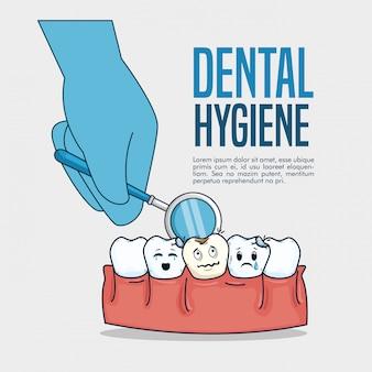 Cuidado de los dientes y diagnóstico del espejo bucal en la mano