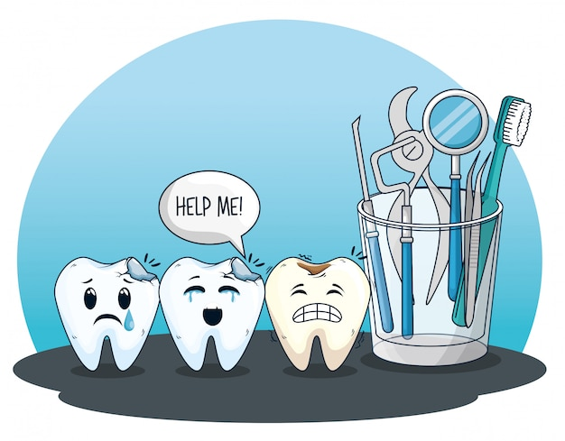 Cuidado de los dientes con equipo de medicina profesional.