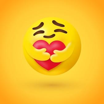 Cuidado emoji abrazando un corazón rojo