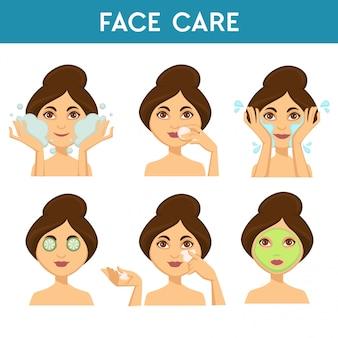 Cuidado facial, mujer aplicando diferentes máscaras y productos