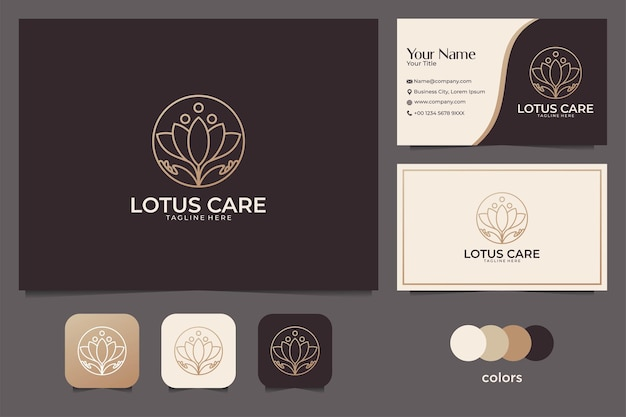 Cuidado de loto elegante con diseño de logotipo de arte lineal y tarjeta de visita