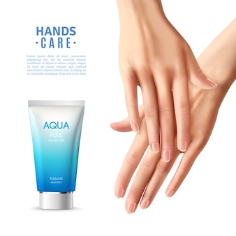 Cuidado de las manos crema cartel realista