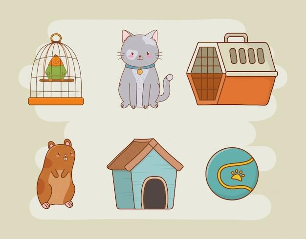 Cuidado de la mascota set iconos