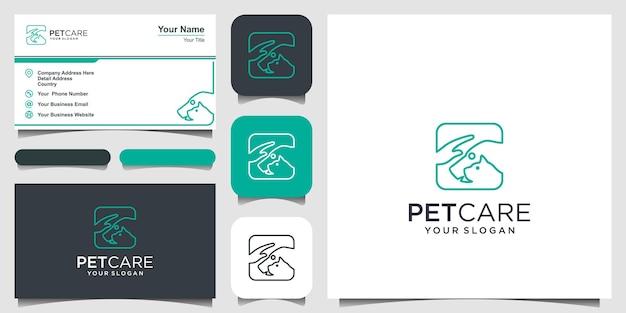 Cuidado de mascotas, perros y gatos con diseño de logotipo de plantilla de vector de icono de logotipo de mano y tarjeta de visita