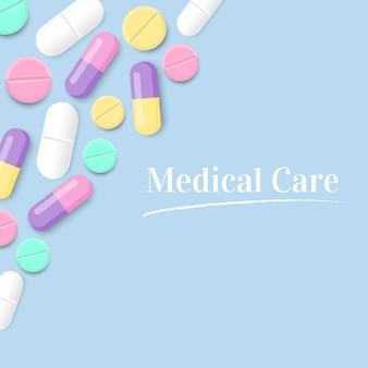 Cuidado médico con fondo de vector de píldoras coloridas