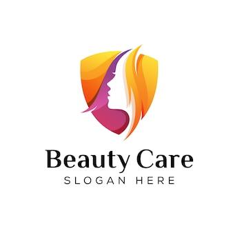 Cuidado moderno de color o logotipo de salón de belleza