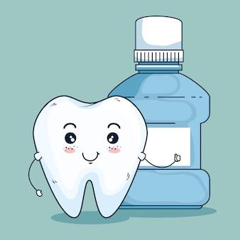 Cuidado odontológico dental y enjuague bucal dental
