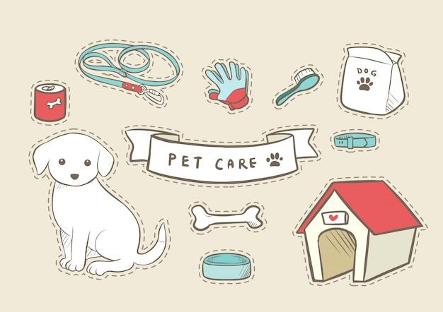 Cuidado del perro mascota dibujado a mano