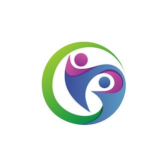 Cuidado de personas en círculo, fundación logo vector