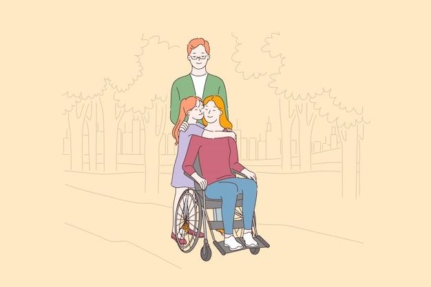 Cuidado de personas discapacitadas, concepto de amor