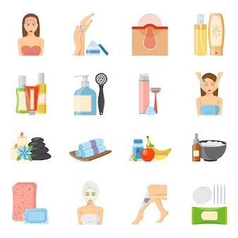 Cuidado de la piel y cuidado de los iconos planos