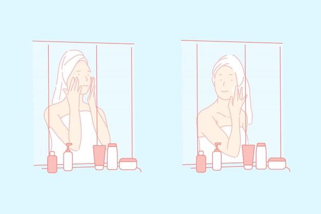 Cuidado de la piel, ilustración de cosméticos ecológicos