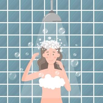 Cuidado regular del cabello y del cuerpo. mujer joven de dibujos animados toma una ducha y se lava la cabeza.