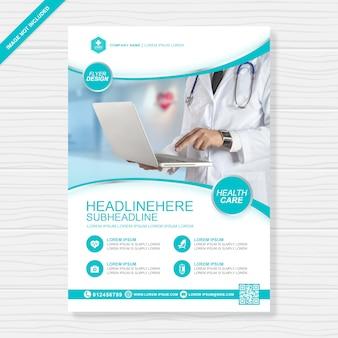 Cuidado de la salud y la cubierta médica plantilla de diseño a4