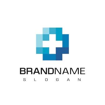Cuidado de la salud, logotipo de hospital con símbolo de cruz