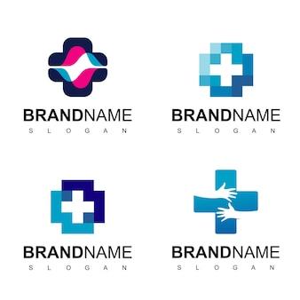Cuidado de la salud, logotipo del hospital con símbolo de cruz