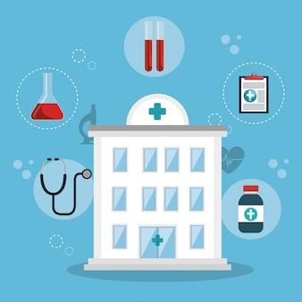 Cuidado de la salud médica con iconos de conjunto