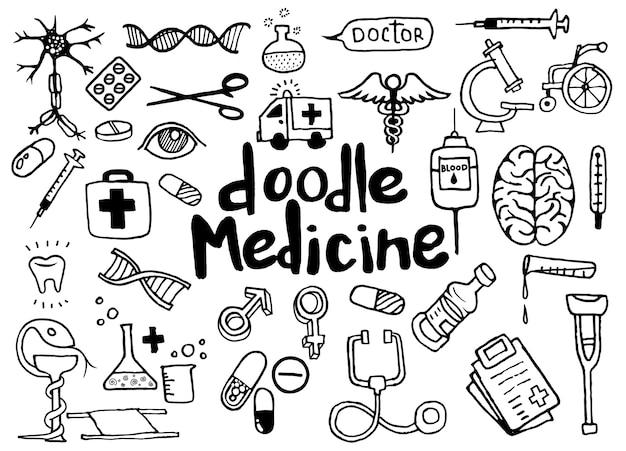 Cuidado de la salud y la medicina doodle de fondo.