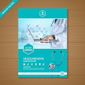 Cuidado de la salud y plantilla de folleto médico