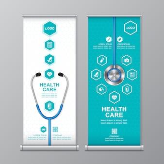 Cuidado de la salud y rollo médico y plantilla standee