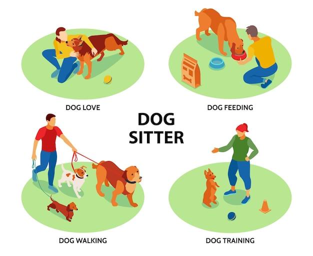 Cuidador de perros 4 composiciones isométricas circulares con mascotas entrenando alimentación caminando actividades al aire libre cuidado amor