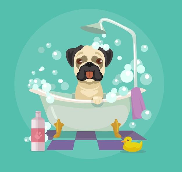 Cuidados del perro. ilustración plana
