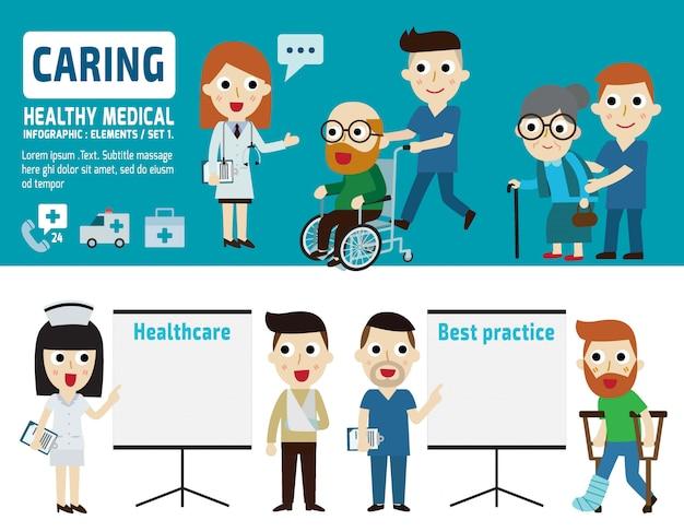Cuidando de paciente aislado ilustración vectorial