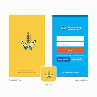 Cultivos de la empresa en manos pantalla de bienvenida y página de inicio de sesión con plantilla de logotipo. plantilla de negocios en línea móvil