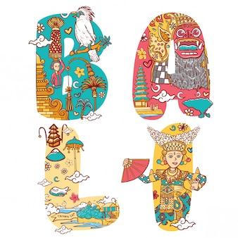Cultura de bali, indonesia, en fuente personalizada ilustración de letras
