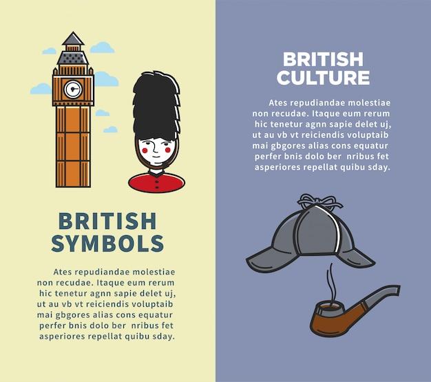 Cultura británica y símbolos en conjunto de folletos verticales.