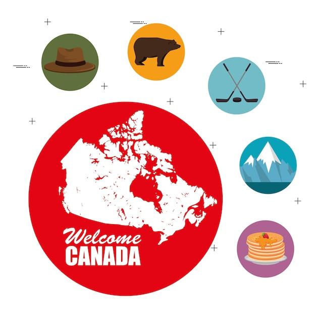 Cultura canadiense establece iconos ilustración vectorial diseño