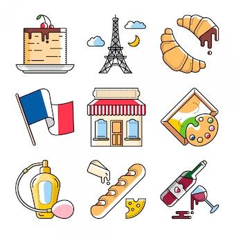 Cultura y comida francesa, ilustraciones vectoriales