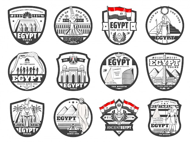 Cultura de egipto antiguo monumentos de el cairo iconos de viaje