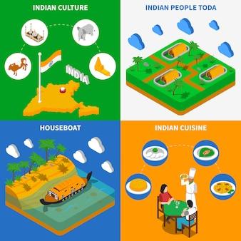Cultura india elementos isométricos y personajes.