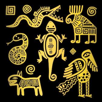 Cultura mexicana iconos tribales dorados.