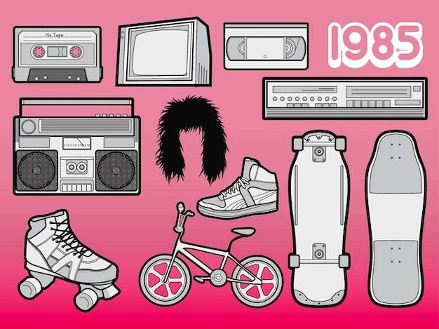 La cultura pop estilizado vector pegatinas