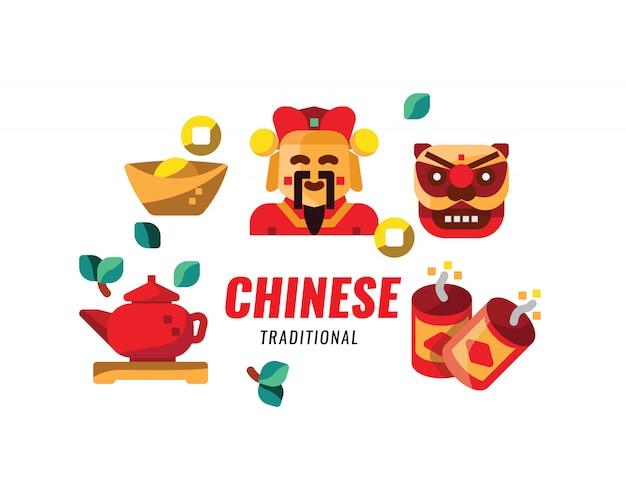Cultura tradicional china, objeto y fe. ilustración vectorial
