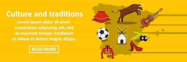 Cultura y tradiciones españa banner concepto horizontal