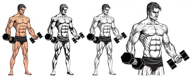 Culturista masculino de cuerpo completo con mancuerna