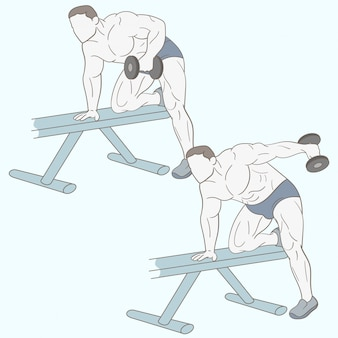 Culturista masculino haciendo entrenamiento de bíceps