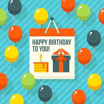 Cumpleaños, aniversario, tarjeta de invitación de fiesta de jubileo, postal. ilustración.