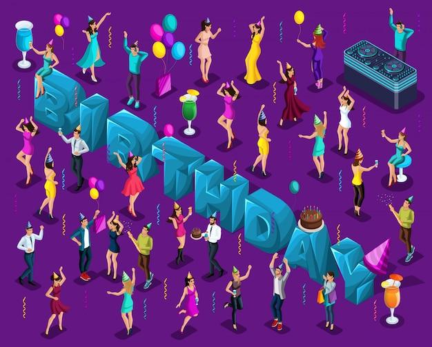 Cumpleaños de celebración isométrica, letras grandes, gente bailando, en gorros de vacaciones, feliz, globos, pastel